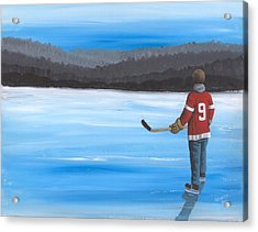 On Frozen Pond - Gordie Acrylic Print by Ron Genest
