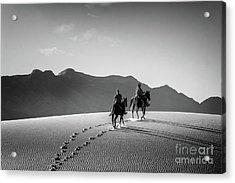 On Horseback At White Sands Acrylic Print