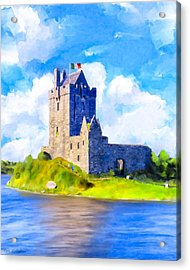 On Irish Shores - Dunguaire Castle Acrylic Print by Mark Tisdale