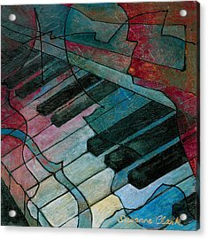On Key - Keyboard Painting Acrylic Print by Susanne Clark