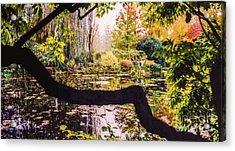 On Oscar - Claude Monet's Garden Pond  Acrylic Print