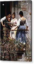 On The Balcony  Acrylic Print by Eugen von Blaas
