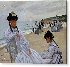On The Beach At Trouville Acrylic Print by Claude Monet