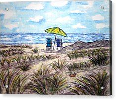 Acrylic Print featuring the painting On The Beach by Kathy Marrs Chandler