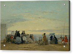 On The Beach, Sunset Acrylic Print by Eugene Boudin