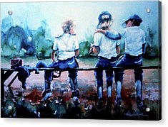 On The Bench Acrylic Print by Hanne Lore Koehler