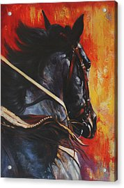 Acrylic Print featuring the painting On The Black by Harvie Brown