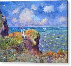 On The Bluff At Pourville - Sur Les Traces De Monet Acrylic Print by David Lloyd Glover