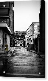 The Rail And The Green Raincoat Acrylic Print