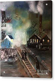 Acrylic Print featuring the painting On The Pennsylvania Tracks by Denise Tomasura