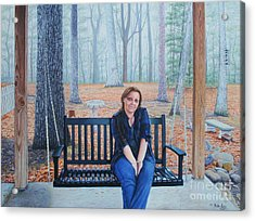 Acrylic Print featuring the painting On The Porch Swing by Mike Ivey