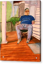 Acrylic Print featuring the pastel On The Porch With Uncle Pervy by Jean Haynes