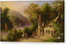 On The River Dart Between Totnes And Dartmouth Acrylic Print by John Wallace Tucker