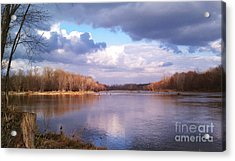 On The River Acrylic Print by EGiclee Digital Prints