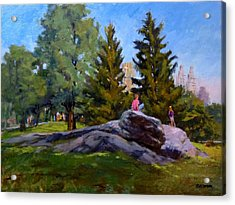 On The Rocks In Central Park Acrylic Print by Peter Salwen