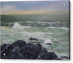 Acrylic Print featuring the painting On The Rocks by Ken Ahlering