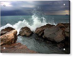 On The Rocks Acrylic Print by Martina  Rathgens