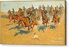 Acrylic Print featuring the photograph On The Southern Plains Frederic Remington by John Stephens