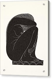 On The Tiles Acrylic Print by Eric Gill