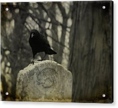 On The Tombstone By The Tree Acrylic Print by Gothicrow Images
