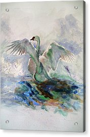 On The Water Acrylic Print by Khalid Saeed