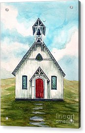 Once Upon A Sunday - Country Church Acrylic Print by Janine Riley