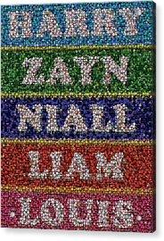 One Direction Names Bottle Cap Mosaic Acrylic Print by Paul Van Scott