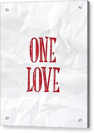 One Love Acrylic Print by Samuel Whitton