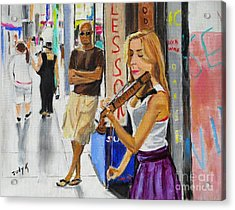 Acrylic Print featuring the painting One Man Show by Judy Kay