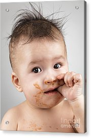 One Messy Baby Boy Sucking His Thumb Acrylic Print by Oleksiy Maksymenko