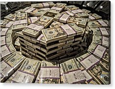 One Million Dollars In Twentys Acrylic Print by Thomas Woolworth