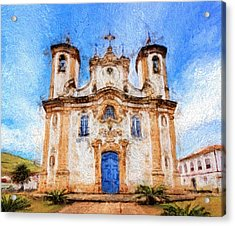 One More Church In Ouro Preto Acrylic Print by Andrea Ribeiro