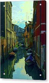 one of the many Venetian canals at the end of a Sunny summer day Acrylic Print