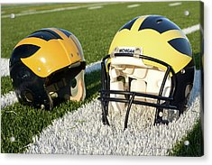 One Old, One New Wolverine Helmets On The Field Acrylic Print