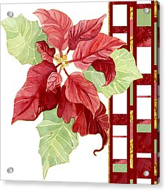 One Perfect Poinsettia Flower W Modern Stripes Acrylic Print