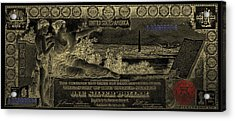 Acrylic Print featuring the digital art One U.s. Dollar Bill - 1896 Educational Series In Gold On Black  by Serge Averbukh