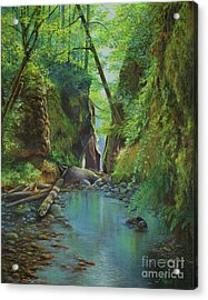 Oneonta Gorge Acrylic Print by Jeanette French