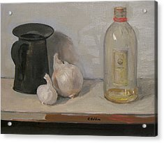 Onion And Garlic, Tin Can And Painting Medium Bottle Acrylic Print