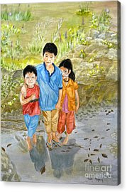 Acrylic Print featuring the painting Onion Farm Children Bali Indonesia by Melly Terpening