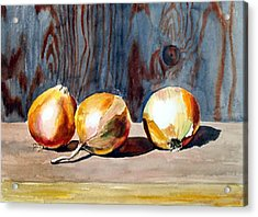 Onions In The Sun Acrylic Print by Anne Trotter Hodge