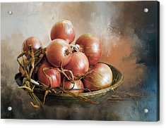 Acrylic Print featuring the photograph Onions by Robin-Lee Vieira