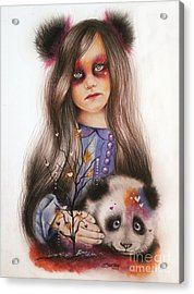 Acrylic Print featuring the drawing Only Friend In The World - Panda Precious by Sheena Pike
