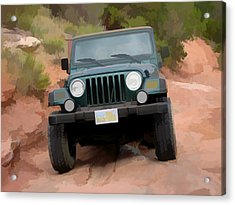 Acrylic Print featuring the digital art Only Jeeps Here by Gary Baird