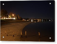 Acrylic Print featuring the photograph Onset Beach At Night by Greg DeBeck