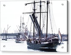 Acrylic Print featuring the photograph Oosterschelde Leaving Port by Stephen Mitchell