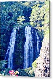 Opaeka'a Falls - Edit  Acrylic Print by Alohi Fujimoto