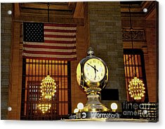 Opal Atomic Clock At Grand Central Acrylic Print by Jacqueline M Lewis
