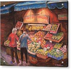 Open Air Market  Bologna Acrylic Print by Sam Pearson