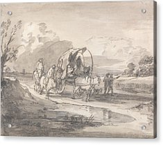 Open Landscape With Horsemen And Covered Cart Acrylic Print by Thomas Gainsborough