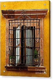 Open Window In Ochre Acrylic Print by Mexicolors Art Photography